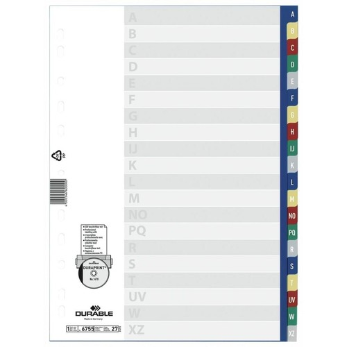 Register A-Z A4 230x297mm mehrfarbig Plastik Durable 6755-27 Produktbild Front View L