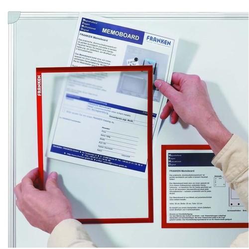 Dokumentenhalter A4 transparent/rot magnetisch Franken ITSA4M/5 01 (PACK=5 STÜCK) Produktbild Additional View 1 L