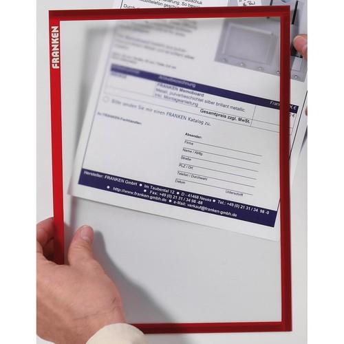 Magnetrahmen X-tra!Line A4 magnetisch transparent/rot Franken ITSA4M/5 01 (PACK=5 STÜCK) Produktbild