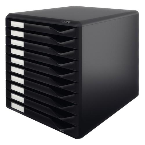 Schubladenbox 10 Schübe 285x290x355mm Gehäuse schwarz Schübe schwarz Kunststoff Leitz 5294-00-95 Produktbild Front View L