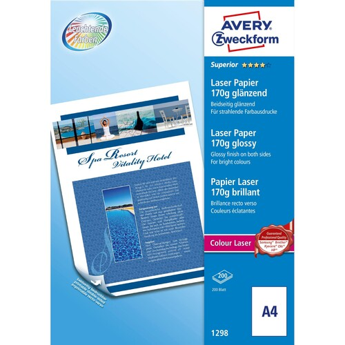 Fotopapier Laser+Kopier Superior Colour A4 170g weiß beidseitig glossy Zweckform 1298 (PACK=200 BLATT) Produktbild