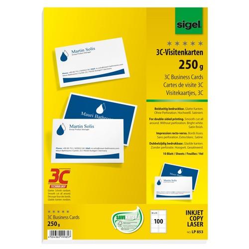 Visitenkarten Inkjet+Laser+Kopier 85x55mm 250g weiß beidseitig bedruckbar glatte Kanten Sigel LP853 (PACK=100 STÜCK) Produktbild