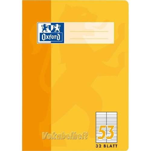 Vokabelheft Oxford A4 liniert 4 Farben sortiert 2 Spalten 32Blatt 90g Optik Paper weiß 100050336 Produktbild Additional View 1 L