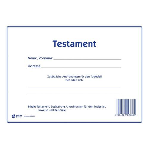 Testament-Vordruck 220x163mm weiß Zweckform 2838 Produktbild Additional View 1 L