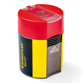 Spitzer einfach mit Behälter oval hoch grau/gelb/rot Kunststoff Staedtler 511004 Produktbild