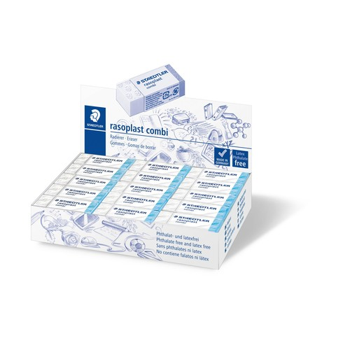 Radiergummi rasoplast combi 19x13x43mm weiß/blau Kunststoff Staedtler 526BT30 Produktbild Front View L