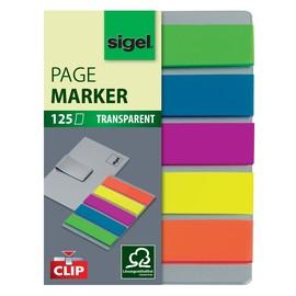 Haftmarker Film + Clip 50x12mm 5 Farben transparent Sigel HN610 (PACK=5x 25 STÜCK) Produktbild