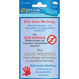 Hinweis-Etiketten BITTE KEINE WERBUNG + ANZEIGEBLÄTTER 4 Formate Zweckform 59508 (BTL=4 STÜCK) Produktbild