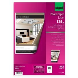 Fotopapier Laser+Kopier A3 135g hochweiß beidseitig glossy Sigel LP343 (PACK=200 BLATT) Produktbild