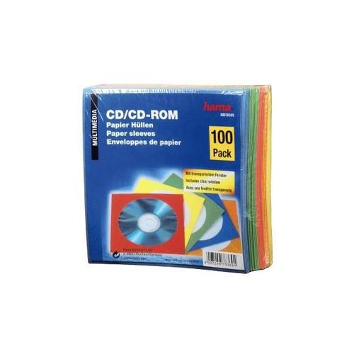 CD/DVD Leerhülle farbig sortiert Papier Hama 00078369 (PACK=100 STÜCK) Produktbild Front View L