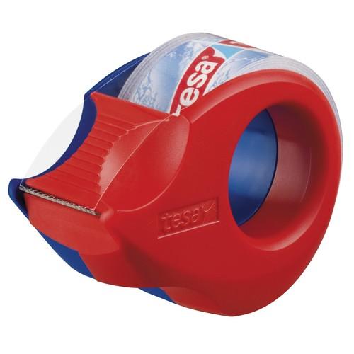 Handabroller Mini + 1 Rolle Tesafilm kristall-klar füllbar bis 19mm x 10m rot/blau Tesa 57858-00000-00 Produktbild Front View L