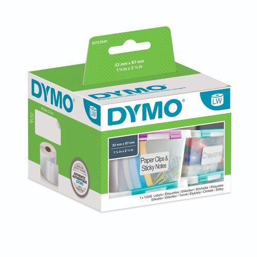 LabelWriter-Vielzweck-Etiketten 32x57mm weiß Dymo S0722540 (RLL=1000 ETIKETTEN) Produktbild Front View L