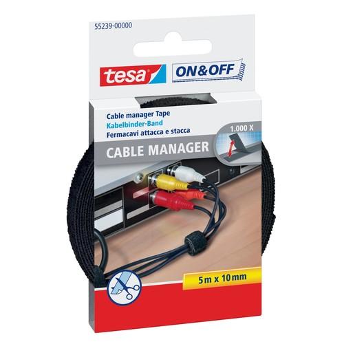 Kabelmanager Velcro Universal 1cm x 5m schwarz Tesa 55239-00000-01 Produktbild Front View L