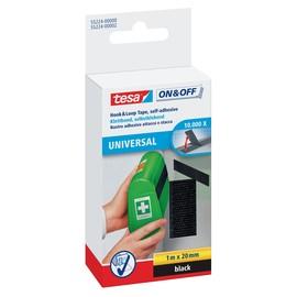 Klettband Velcro 2cm x 1m schwarz zum Aufkleben Tesa 55224-00000-02 Produktbild