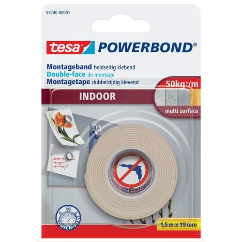 Powerbond INDOOR 19mm x1,5m farblos beidseitig klebend Tesa 55740-00001-02 (RLL=1,5 METER) Produktbild Front View L