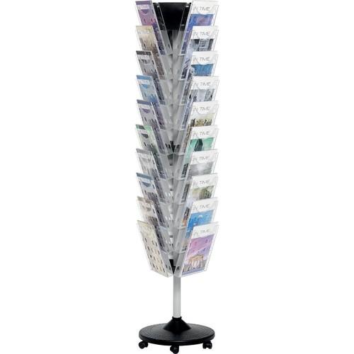 Boden-Prospektständer 440x1720mm 30 Fächer auf 3 Etagen schwarz/silber glasklar drehbar Helit H6255802 Produktbild