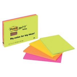 Haftnotizen Post-it Meeting-Notes 152x101mm neonfarben 3M 6445-4SS (PACK=4x 45 BLATT) Produktbild