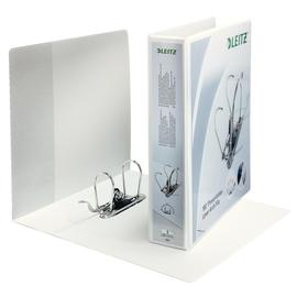 Präsentations-Ordner 180° breit mit 4 Sichttaschen A4 Überbreite 2Ringe 80mm Rückenbreite weiß PP Leitz 4225-00-01 Produktbild