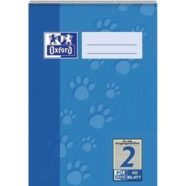 Spiralschulblock Oxford A5 Lineatur 2 40Blatt 90g Optik Paper weiß farbig hinterlegt 100050385 Produktbild