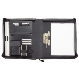 Ringbuchmappe mit Reißverschluß BERGAMO A4 schwarz Lederimitat Alassio 31506 Produktbild