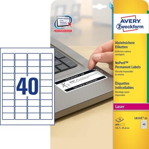Etiketten Laser 45,7x25,4mm auf A4 Bögen weiß abziehsicher Zweckform L6145-20 (PACK=800 STÜCK) Produktbild