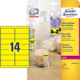 Etiketten Laser+Kopier wiederablösbar 99,1x38,1mm auf A4 Bögen neongelb Zweckform L7263Y-25 (PACK=350 STÜCK) Produktbild