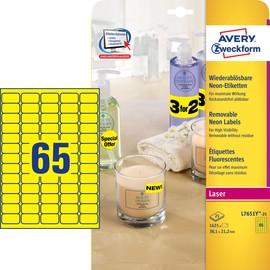 Etiketten Laser+Kopier 38,1x21,2mm auf A4 Bögen neongelb Zweckform L7651Y-25 (PACK=1625 STÜCK) Produktbild