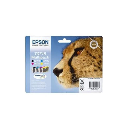 Tintenpatrone T0715 Multipack für Epson Stylus D78/SX400 23,9ml schwarz, magenta, yellow, cyan Epson T071540 (PACK=4 STÜCK) Produktbild Front View L