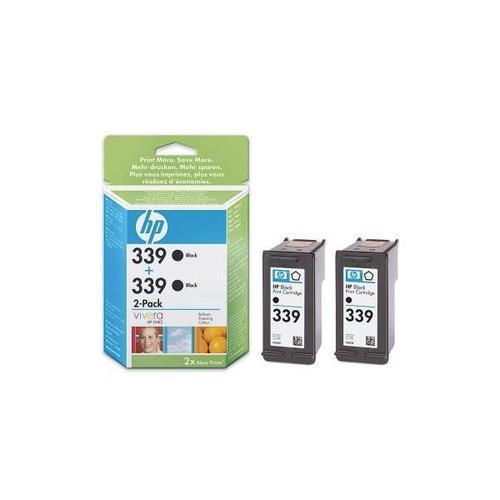 Tintenpatrone Doppelpack 339 für HP DeskJet 5740/6840/9800/H470 2x21ml schwarz HP C9504EE (PACK=2 STÜCK) Produktbild Front View L