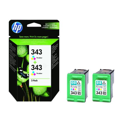 Tintenpatronen Doppelpack 343 für HP DeskJet 460c/5740/6620 2x7ml farbig HP CB332EE (PACK=2 STÜCK) Produktbild Front View L