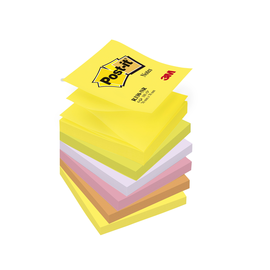 Haftnotizen Post-it Z-Notes 76x76mm neonfarben Z-Faltung Papier 3M R330NR (PACK=6x 100 BLATT) Produktbild