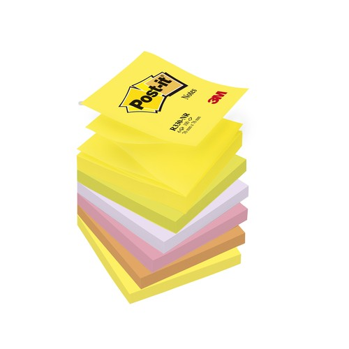 Haftnotizen Post-it Z-Notes 76x76mm neonfarben Z-Faltung Papier 3M R330NR (PACK=6x 100 BLATT) Produktbild
