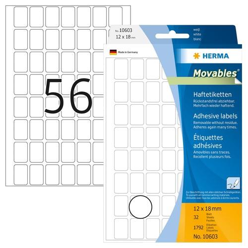 Etiketten Movables für Handbeschriftung 12x18mm weiß Herma 10603 (PACK=1792 STÜCK) Produktbild Front View L