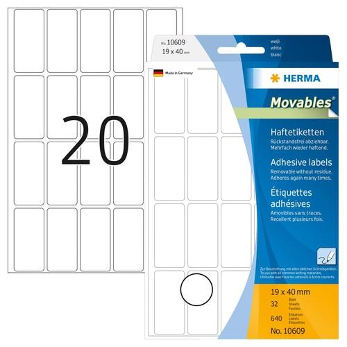Etiketten Movables für Handbeschriftung 19x40mm weiß Herma 10609 (PACK=640 STÜCK) Produktbild Front View L