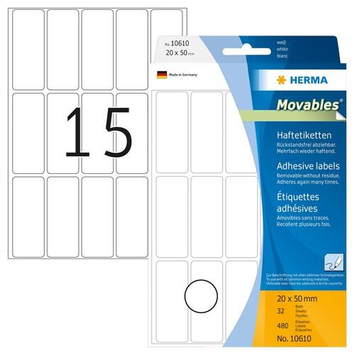 Etiketten Movables für Handbeschriftung 20x50mm weiß Herma 10610 (PACK=480 STÜCK) Produktbild Front View L