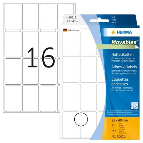 Etiketten Movables für Handbeschriftung 25x40mm weiß Herma 10613 (PACK=512 STÜCK) Produktbild Front View L