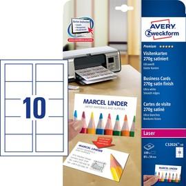 Visitenkarten Laser+Kopier 85x54mm auf A4 Bögen 270g weiß beidseitig bedruckbar Zweckform C32026-10 (PACK=100 STÜCK) Produktbild