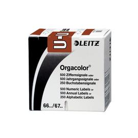 Buchstabensignale U Orgacolor auf Rolle 30x23mm braun selbstklebend Leitz 6630-10-00 (SCH=250 STÜCK) Produktbild