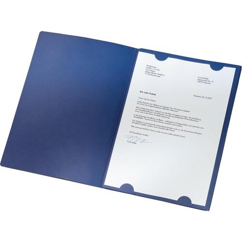 Bewerbungsmappe Exklusiv 3-teilig mit 2 Klemmschienen 222x312mm für 20Blatt dunkelblau Karton Leitz 3974-00-39 Produktbild Additional View 1 L