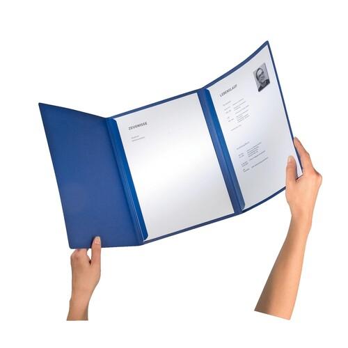 Bewerbungsmappe Exklusiv 3-teilig mit 2 Klemmschienen 222x312mm für 20Blatt dunkelblau Karton Leitz 3974-00-39 Produktbild Additional View 2 L