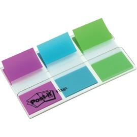 Haftstreifen Post-it Index 25,4x43,2mm lila/blau/grün transparent 3M 680PBGEU (PACK=3x 20 STÜCK) Produktbild