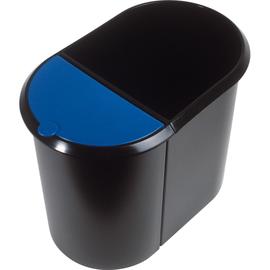 Duo-System-Papierkorb 20l + 9l mit Deckel schwarz/blau Helit H6103993 Produktbild