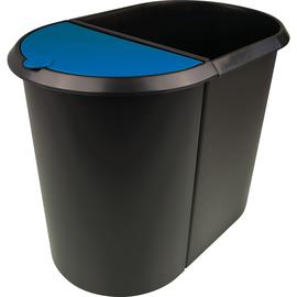 Duo-System-Papierkorb 20l + 9l schwarz/blau Helit H6103993 Produktbild