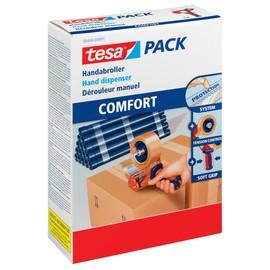 Handabroller Tesapack Comfort für Packbänder füllbar bis 50mm x 66m rot/blau Tesa 0640000001-02 Produktbild