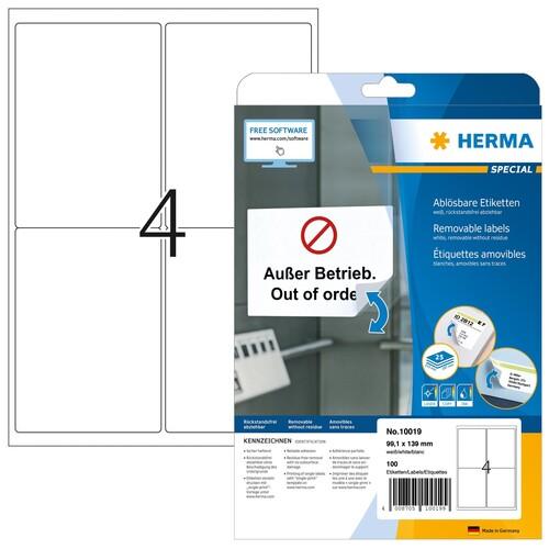 Etiketten Inkjet+Laser+Kopier 99,1x139mm auf A4 Bögen Movables weiß wiederablösbar Herma 10019 (PACK=100 STÜCK) Produktbild