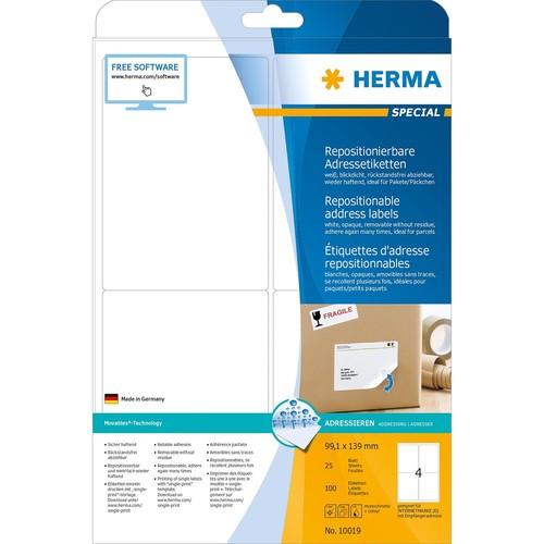 Etiketten Inkjet+Laser+Kopier 99,1x139mm auf A4 Bögen Movables weiß wiederablösbar Herma 10019 (PACK=100 STÜCK) Produktbild Additional View 1 L