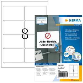 Etiketten Inkjet+Laser+Kopier 96x63,5mm auf A4 Bögen Movables weiß wiederablösbar Herma 10308 (PACK=800 STÜCK) Produktbild