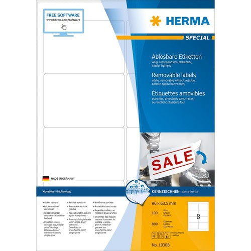Etiketten Inkjet+Laser+Kopier 96x63,5mm auf A4 Bögen Movables weiß wiederablösbar Herma 10308 (PACK=800 STÜCK) Produktbild Additional View 1 L