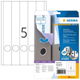 Rückenschilder zum Bedrucken 38x297mm lang schmal auf A4 Bögen Movables weiß wiederablösbar Herma 10175 (PACK=125 STÜCK) Produktbild