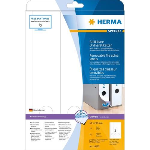 Rückenschilder zum Bedrucken 61x297mm lang breit auf A4 Bögen Movables weiß wiederablösbar Herma 10185 (PACK=75 STÜCK) Produktbild Additional View 1 L